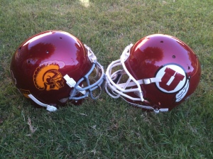 USC vs Utah helmet face-off